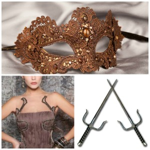 Thalia's dress, mask, and swords