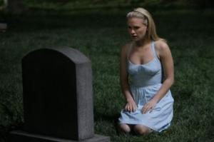 Sookie at Gran's grave