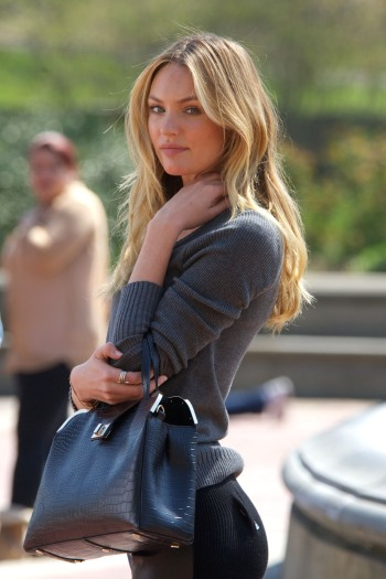 Candice Swanepoel poses for a Victoria's Secret catalogue photoshoot in Central Park